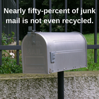 Nearly fifty-percent of junk mail is not even recycled.